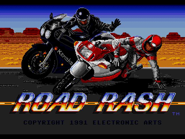Начальный экран Road Rash (sega MegaDrive)