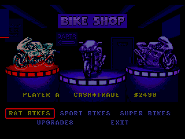 Road Rash 3 bike select